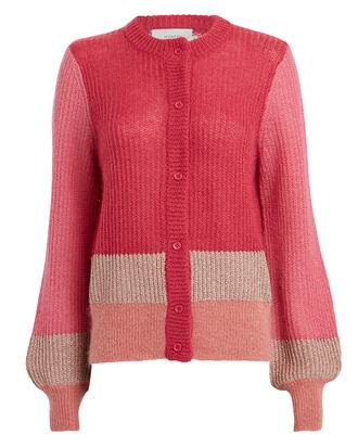 Hip Colorblocked Cardigan, PEONY/SALMON, hi-res