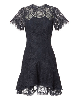 Flutter Lace Mini Dress, NAVY, hi-res