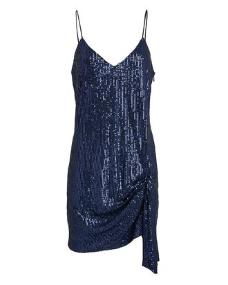 Koren Draped Sequin Mini Dress, NAVY, hi-res