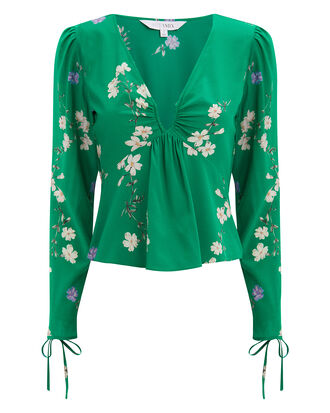 Andrea Printed Top, EMERALD/FLORAL, hi-res