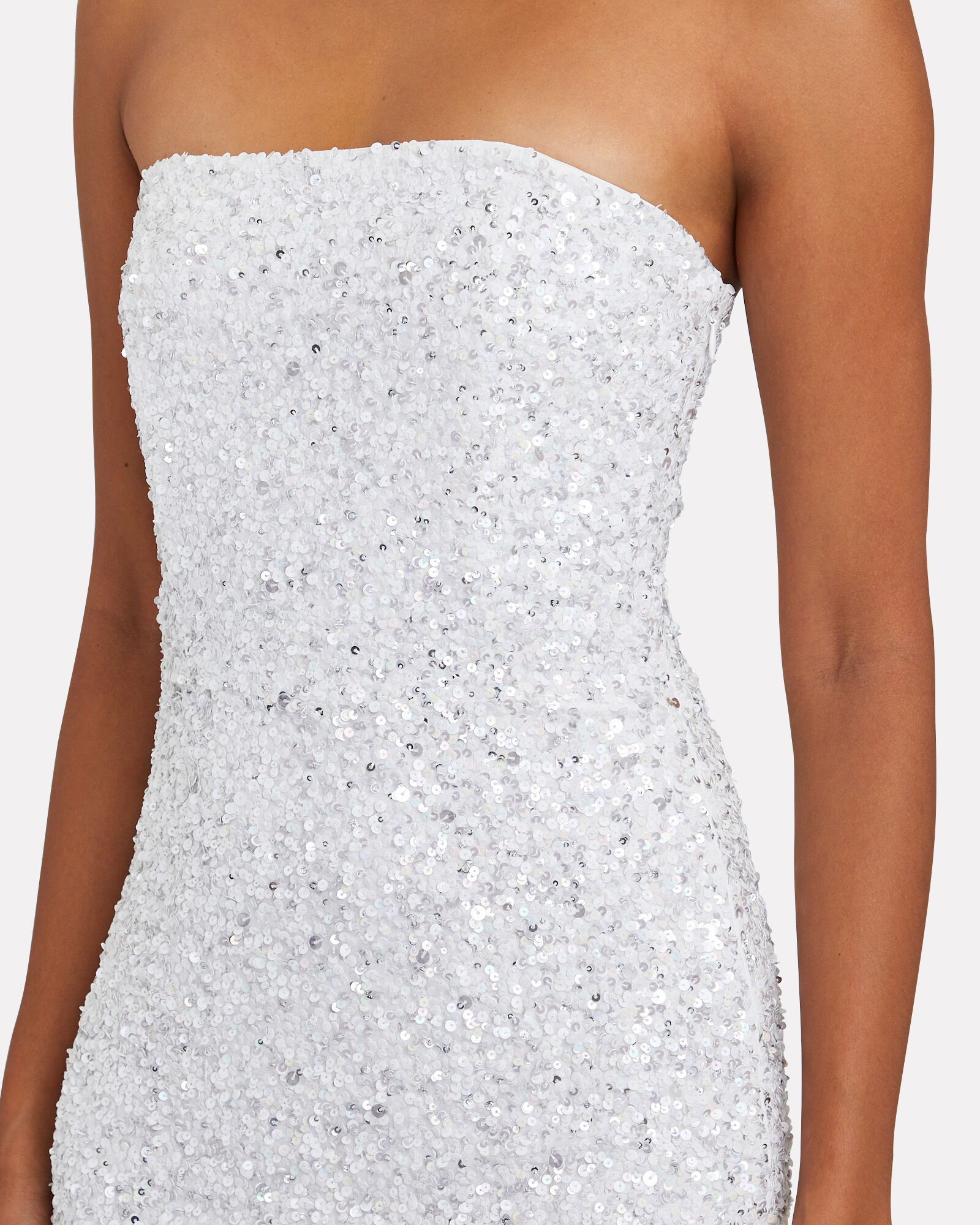 Heather Strapless Sequin Dress, WHITE, hi-res