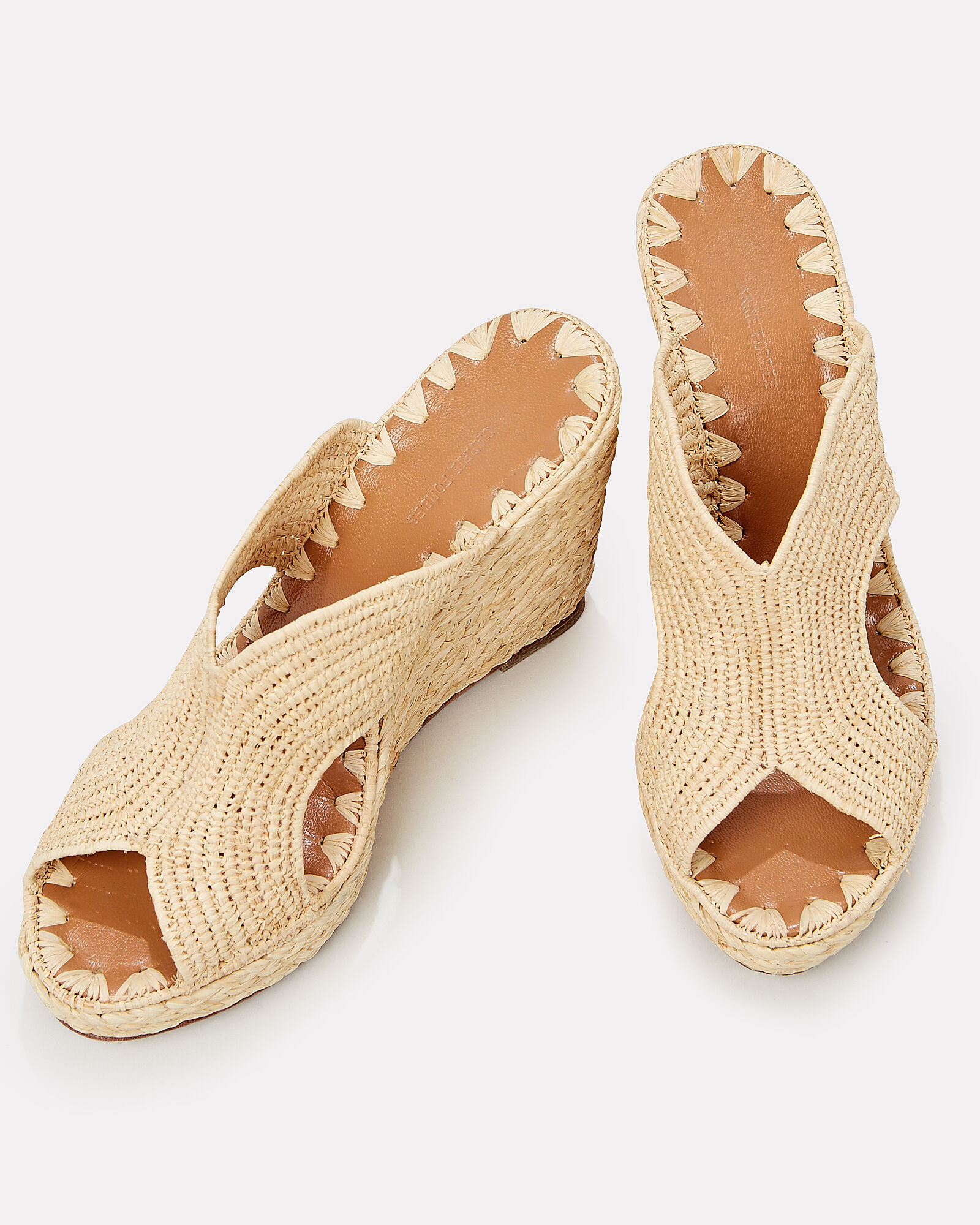 Lina Raffia Wedge Sandals, BEIGE, hi-res
