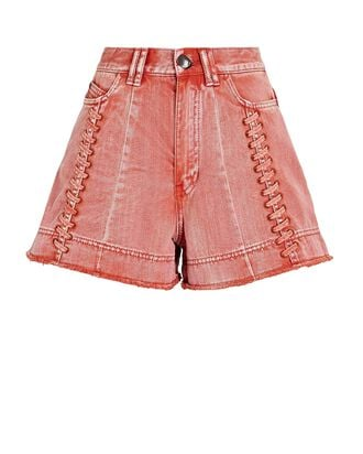 Framework Lace-Up Denim Shorts, ORANGE, hi-res