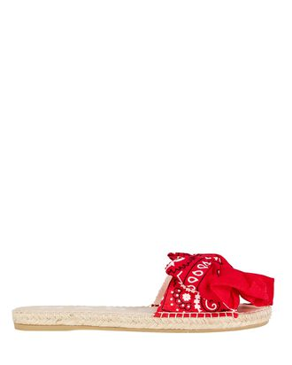 Bandana Bow Espadrille Sandals, RED, hi-res