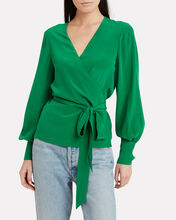 Sadie Silk Wrap Blouse, GREEN, hi-res
