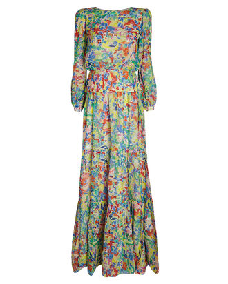 Isabel Printed Silk Georgette Dress, PINK, hi-res