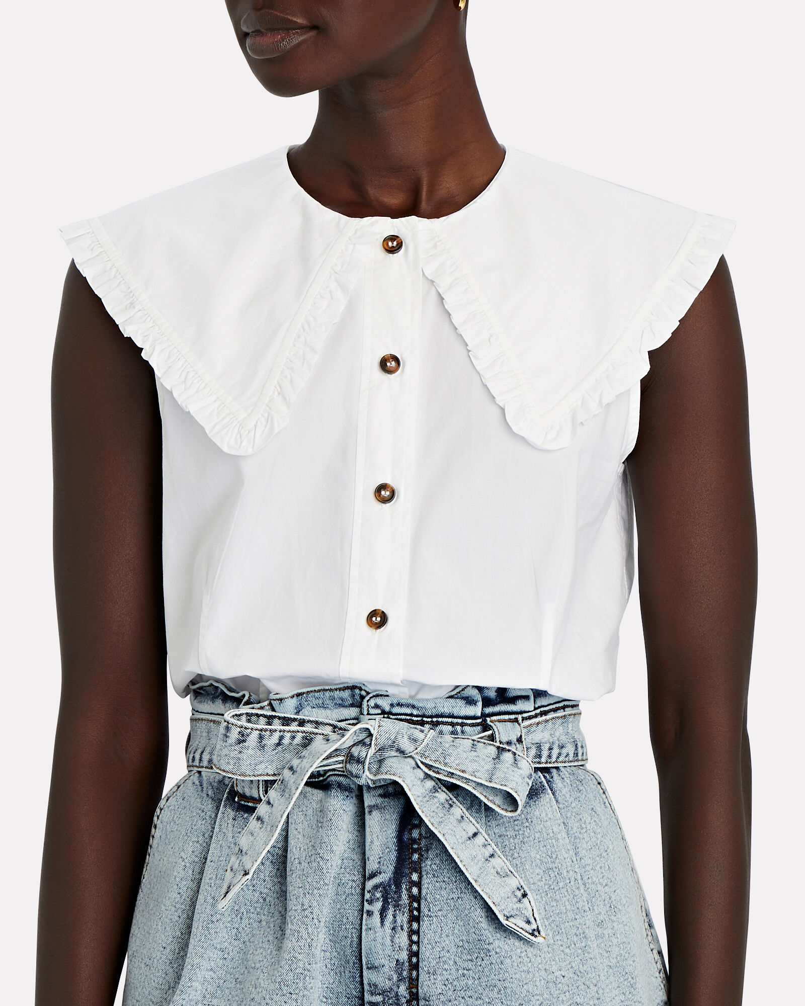 Ruffled Sleeveless Button-Down Shirt, WHITE, hi-res