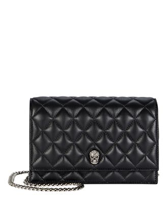 Small Skull Quilted Leather Crossbody Bag, BLACK, hi-res