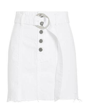 Feliece Belted Denim Skirt, WHITE, hi-res