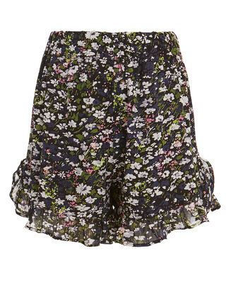 Georgette Floral Ruffle Shorts, BLACK, hi-res