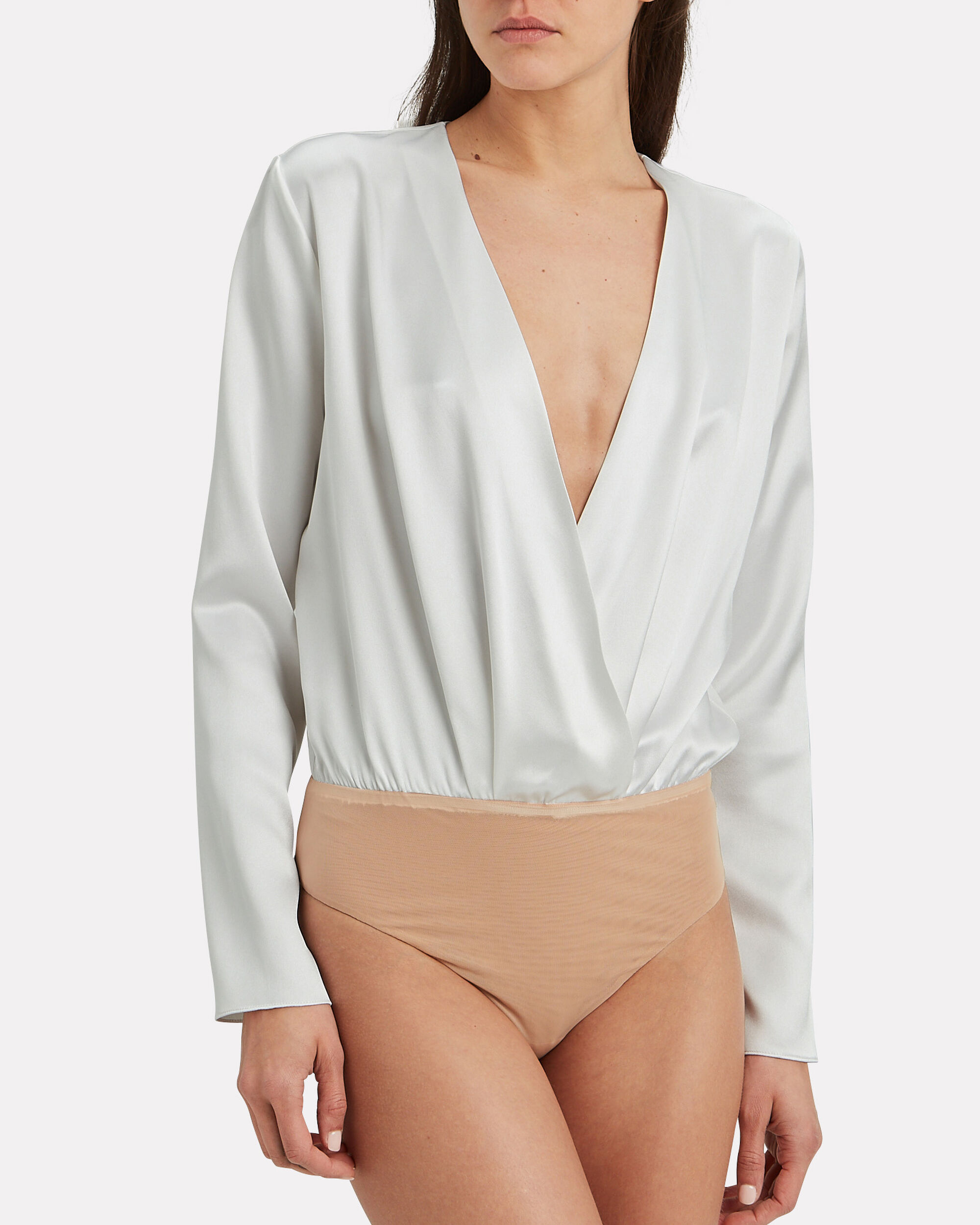 Long Sleeve Bodysuit, WHITE, hi-res
