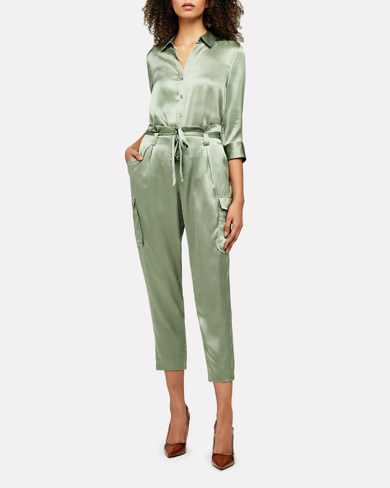 Roxy Silk Paperbag Cargo Pants, OLIVE/ARMY, hi-res