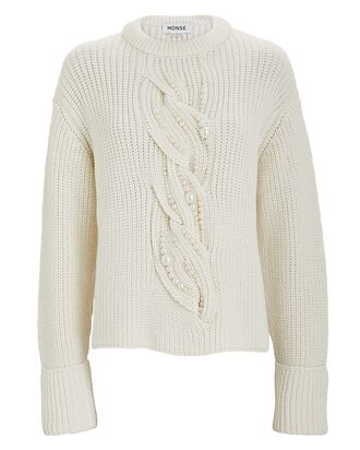 Pearl Cable Knit Merino Wool Sweater, IVORY, hi-res