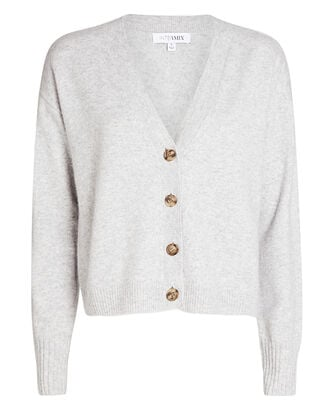 Roya Cashmere Cardigan, LIGHT GREY, hi-res