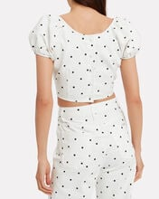 Georgette Polka Dot Cropped Top, WHITE, hi-res