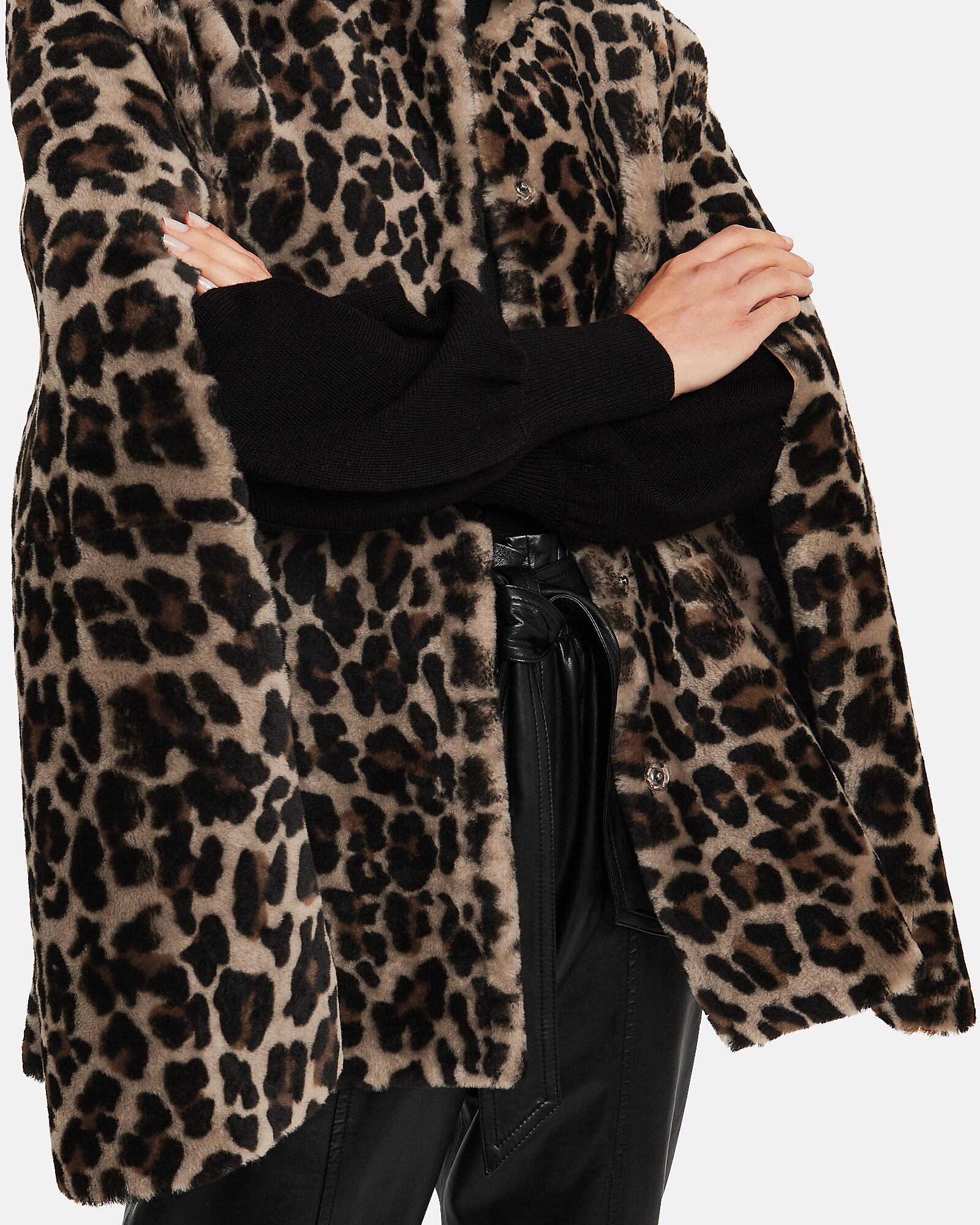 Leopard-Printed Shearling Cape, BROWN, hi-res
