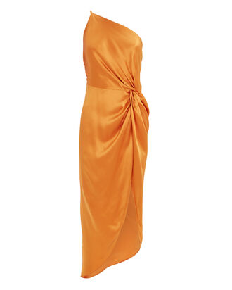 Twist Knot Silk One Shoulder Dress, ORANGE, hi-res