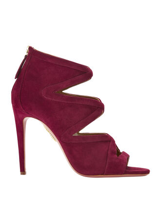 Red Cutout Velvet Booties, RED, hi-res