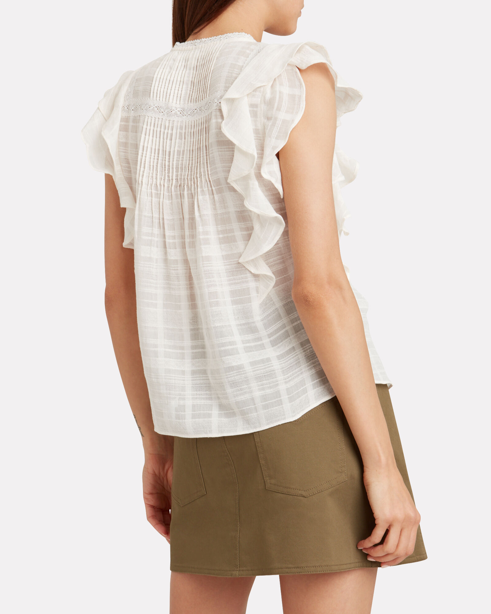 Claire Ruffle Cotton Voile Top, WHITE, hi-res