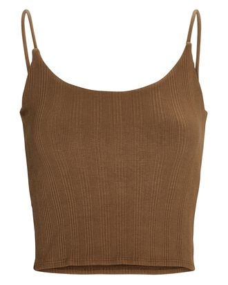 Strappy Cropped Tank Top, BROWN, hi-res
