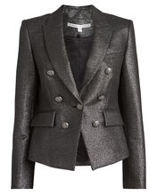 Diego Double-Breasted Lurex Dickey Blazer, METALLIC GREY, hi-res