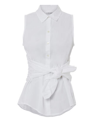 Tie Sleeveless Blouse, WHITE, hi-res