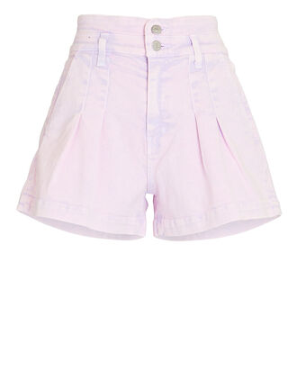 Jaylen Pleated Denim Shorts, LAVENDER ACID WASH, hi-res