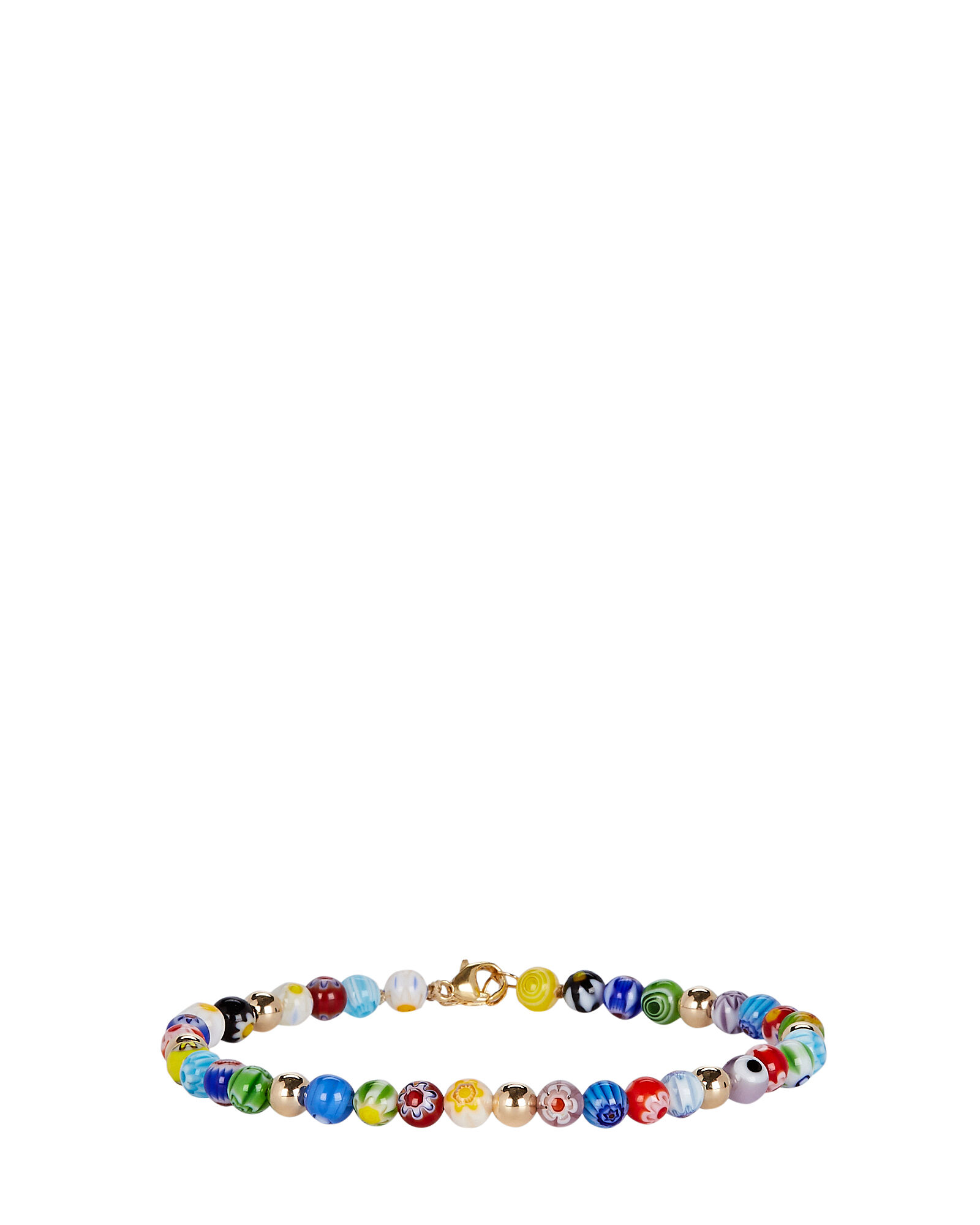 Millefiori Beaded Anklet, RAINBOW, hi-res