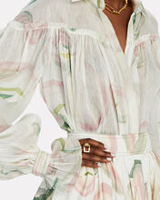 Imprint Floral Button-Down Blouse, IVORY/GREEN/PINK, hi-res