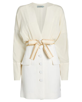 Carlotta Silk-Wool Dress, IVORY, hi-res