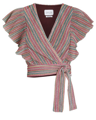 Anita Striped Tie Waist Top, RAINBOW STRIPE, hi-res
