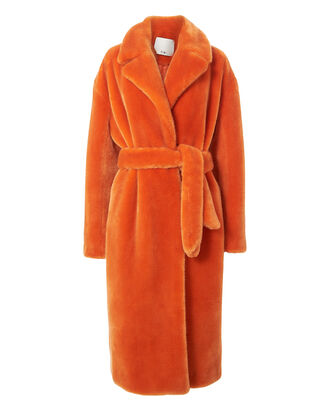 Orange Faux Fur Coat, ORANGE, hi-res