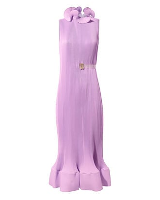 Pleated Belted Dress, PURPLE-LT, hi-res
