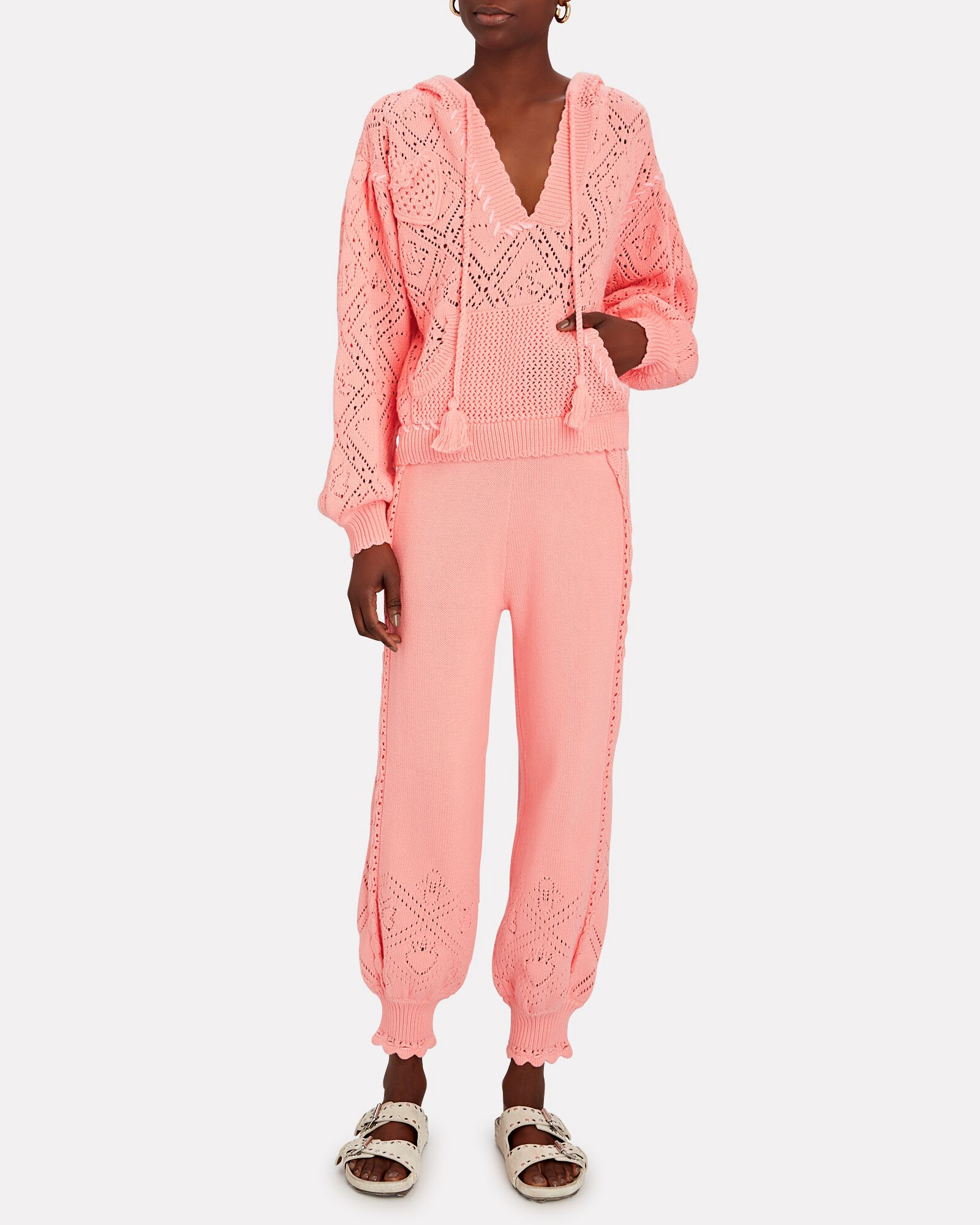 Tomaso Hooded Pointelle Cotton Sweater, PINK, hi-res