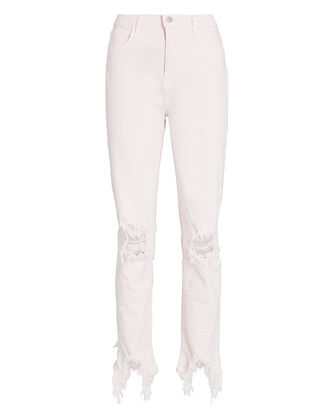 High Line Distressed Skinny Jeans, PINK, hi-res