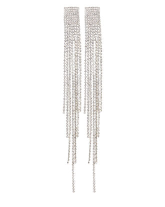 Jessica Crystal Fringe Earrings, SILVER, hi-res
