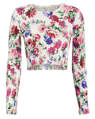 Magda Floral Crop Top, WHITE, hi-res