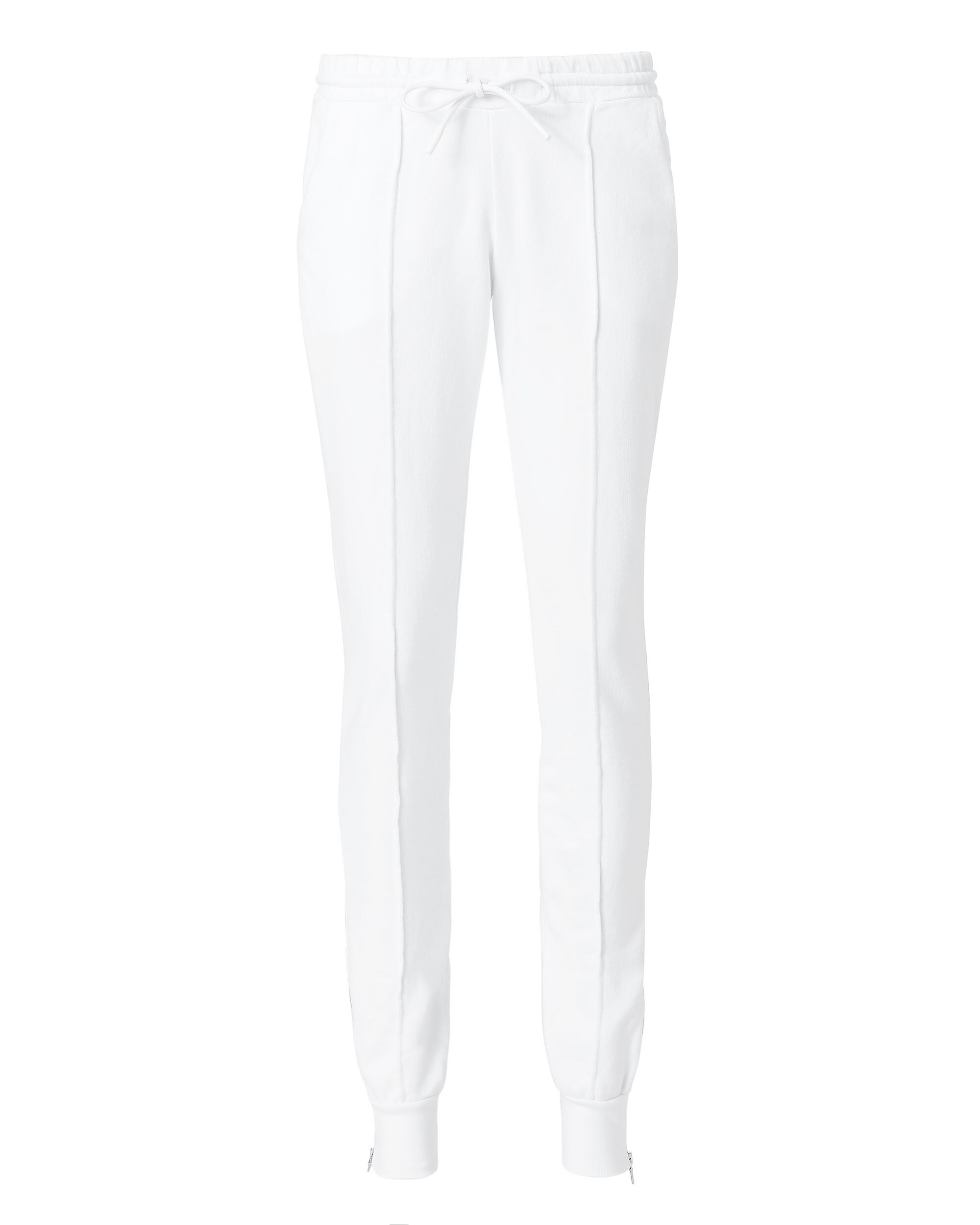 Milan Zip Detail Jogger Pants, WHITE, hi-res