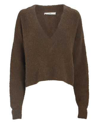 Bouclé Alpaca Cropped Sweater, BROWN, hi-res