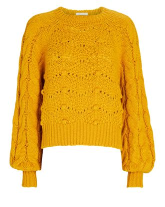 Cropped Bell Sleeve Cable Knit Sweater, YELLOW, hi-res