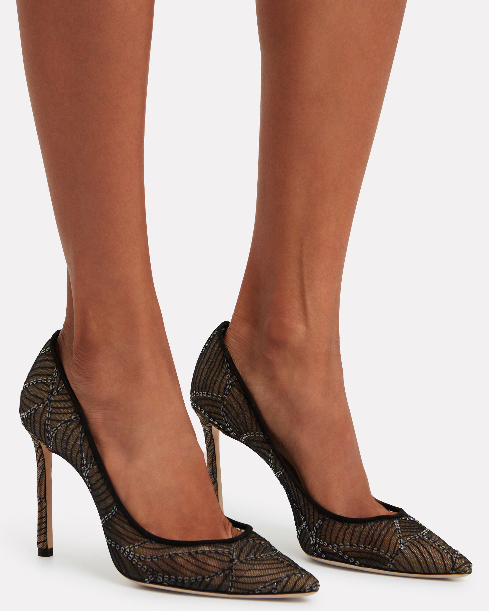 Romy 100 Embroidered Mesh Pumps, BLACK, hi-res