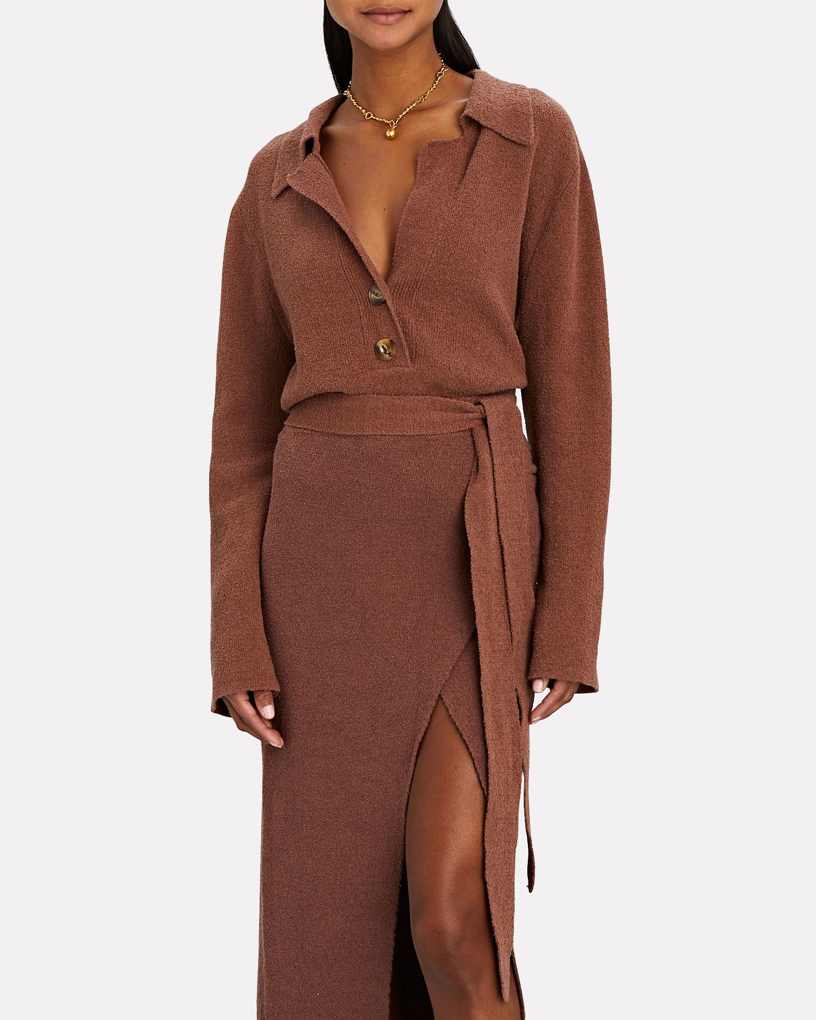 Wrap Open Back Polo Sweater, BROWN, hi-res