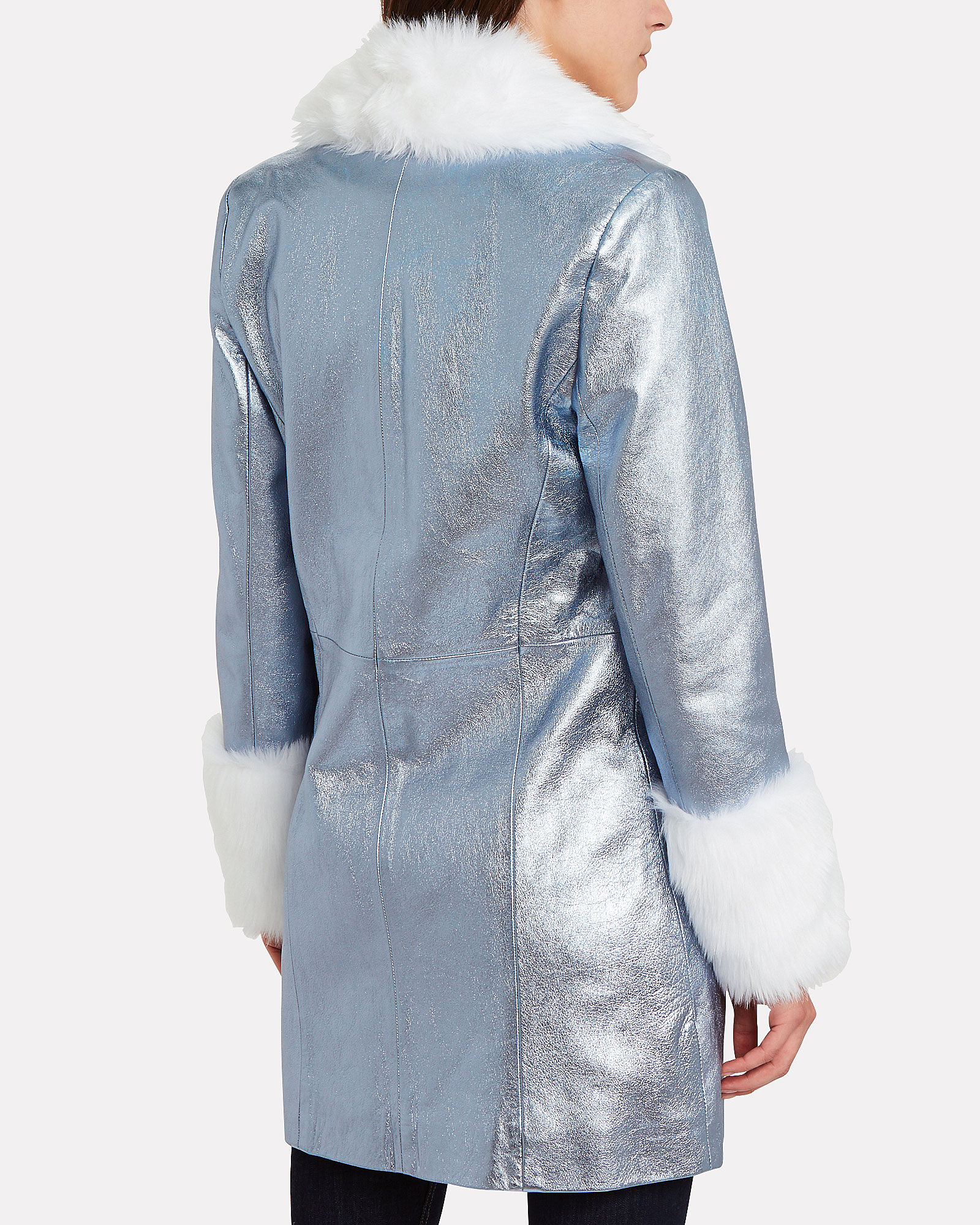 The Brighton Metallic Leather Coat, BLUE/METALLIC, hi-res