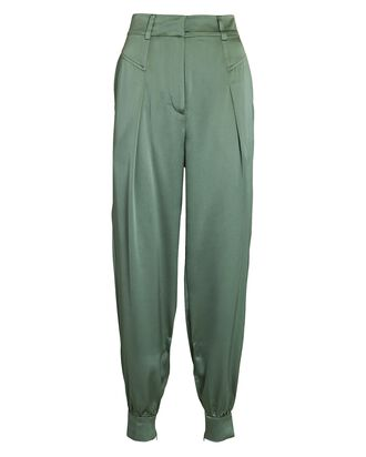 Raleigh Silk Tapered Pants, GREEN, hi-res