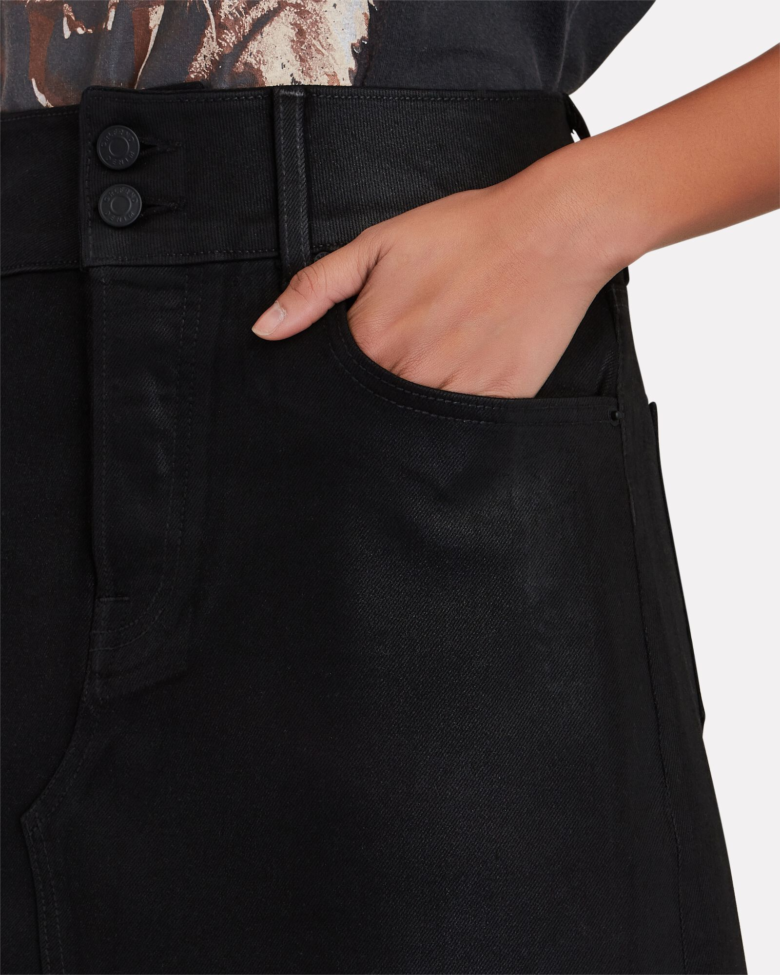 Evie Denim Mini Skirt, BLACK, hi-res
