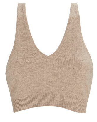 Recycled Cashmere Cropped Tank Top, BEIGE, hi-res
