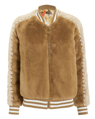 Letterman Faux Fur Jacket, TAN, hi-res