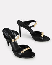 Medusa Studded Leather Stiletto Sandals, BLACK, hi-res