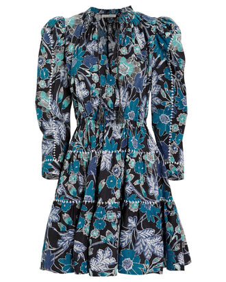 Liv Lapis Floral Patchwork Dress, LAPIS/FLORAL, hi-res
