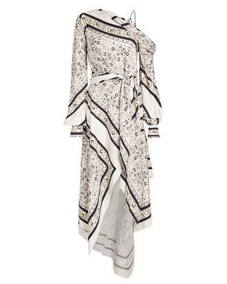 Scarf Print Midi Dress, WHITE, hi-res